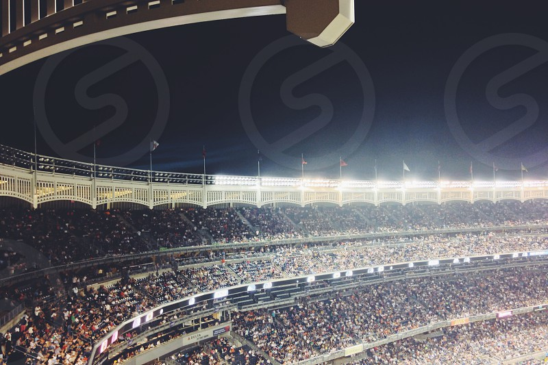 Yankee Stadium packed with fans on a summer night. photo