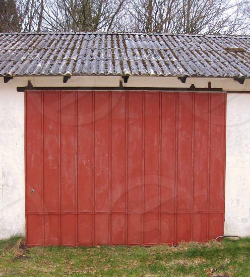 red metal sliding door photo