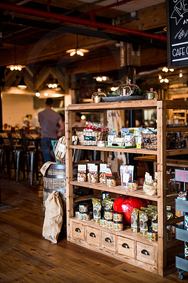 Interior of Mercantile and Mash with products on sale. photo