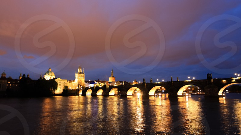 The lights of charles bridge - prague photo