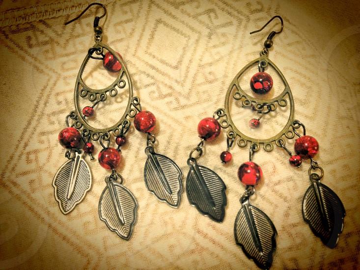 Hand made bohemian hippie dangling earrings photo