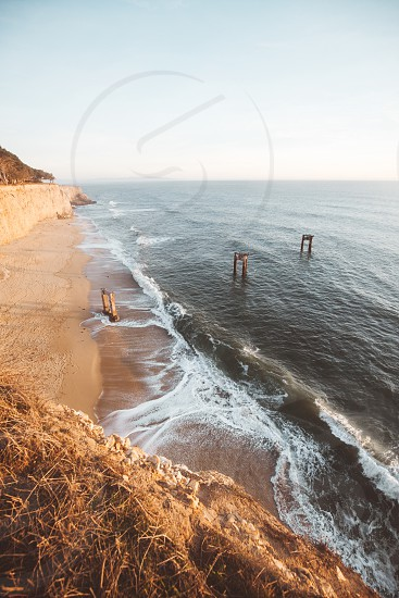 Beach California coast water ocean sea Davenport cliffs pacific adventure travel lifestyle photo