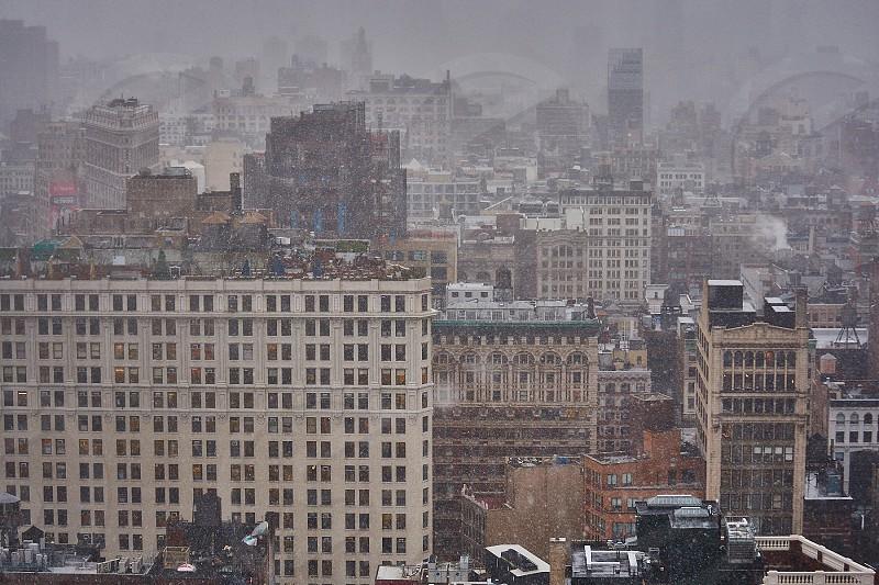 Light snow shower in Manhattan  photo