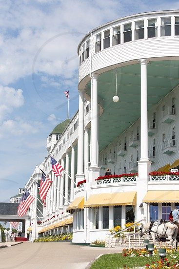 The Driveway To The Grand Hotel On Mackinac Island Michigan No Cars Are Allowed Only Horses And Bikes Also Where The Movie Somewhere In Time Was Filmed By Jennifer Mccallum Photo Stock