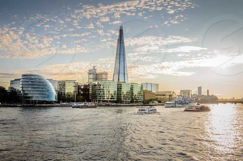London City Hall at sunset with the Shard at background photo