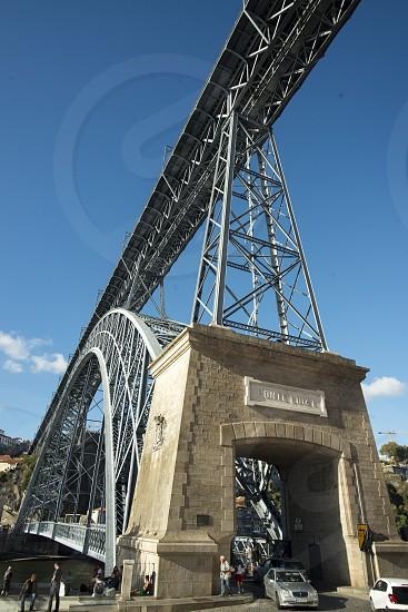 the Ponte de Dom Luis 1 on the Douro River in Ribeira in the city centre of Porto in Porugal in Europe. photo