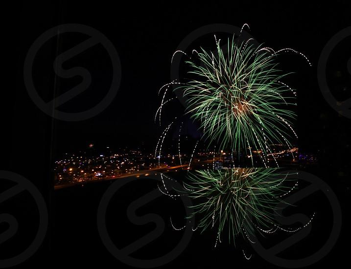 Fireworks reflection symmetry fourth of July  photo