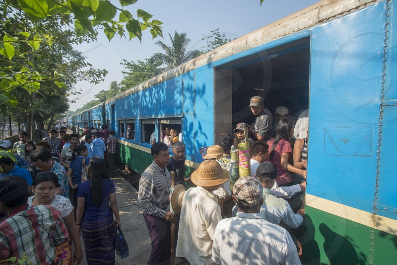 a train of the Yangon circle train in a trainstation near the City of Yangon in Myanmar in Southeastasia. photo