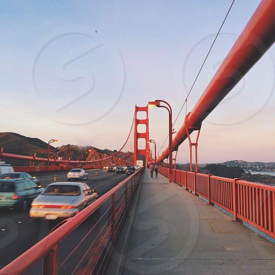 cars on the golden gate bridge photo