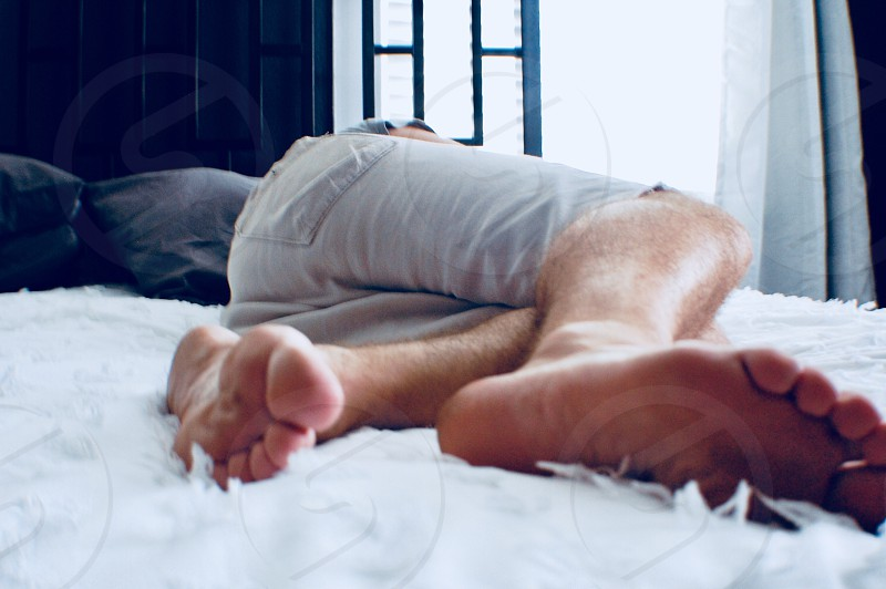 Relaxation peaceful relaxing at home bed napping resting man  photo