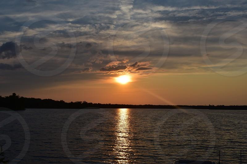 summer sunset on a lake in northern Minnesota  photo