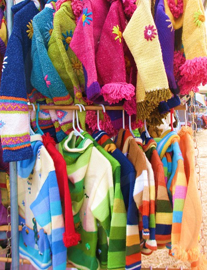 bright & colorful racks of clothing  photo