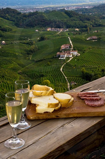 cheese and meat plate with wine overlooking vineyards photo