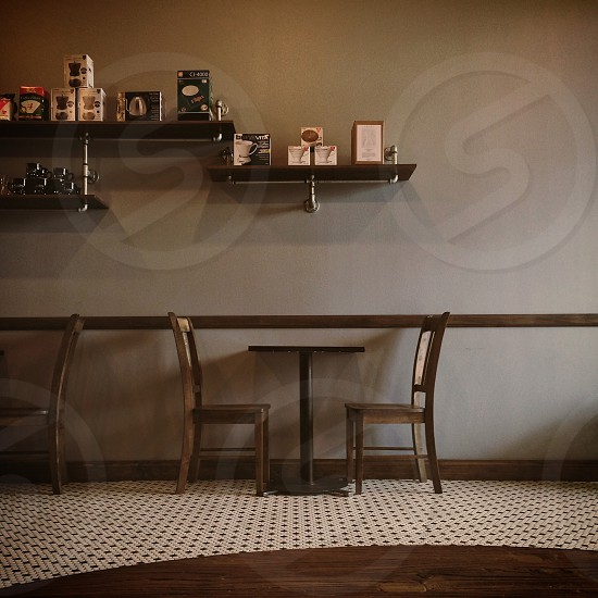 brown wooden dining set photo