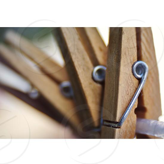brown wooden clothe clip photo
