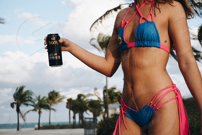 Product placement product photography  Miami  energy drink  bikini  swimwear  photo