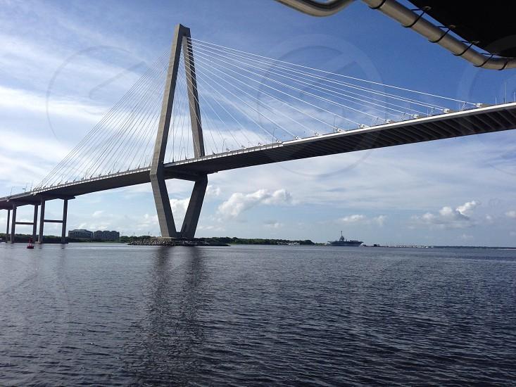Ravanel Bridge Charleston Harbor South Carolina.  photo