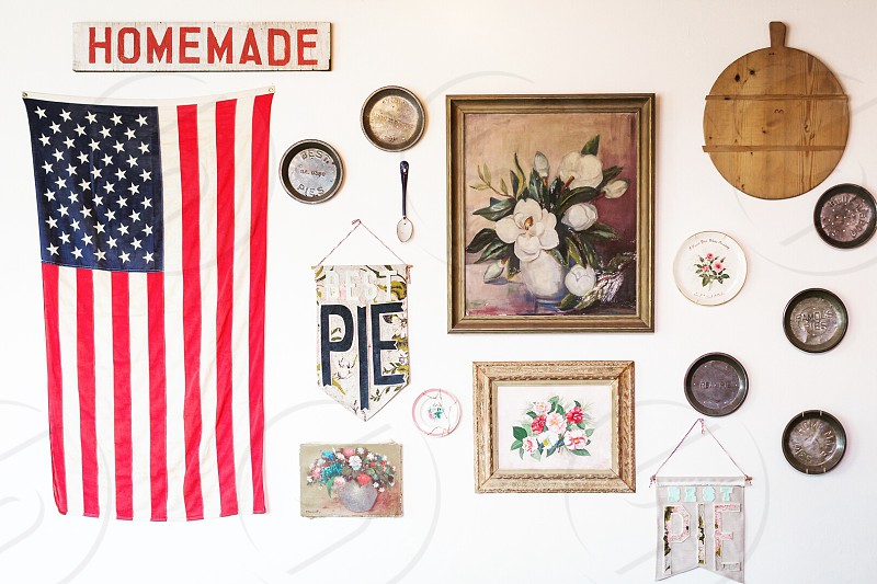Savannah Georgia pie American flag Americana vintage bakery Fourth of July July 4th Independence Day antiques photo