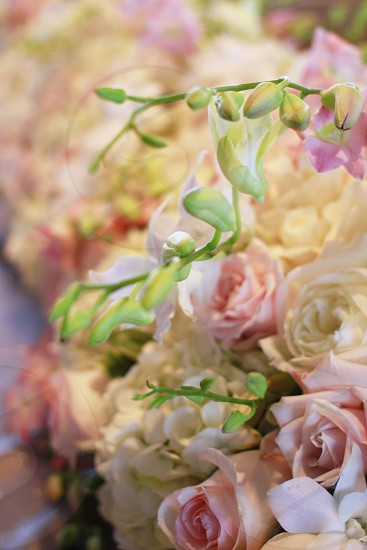 Pink and white rose centerpiece photo