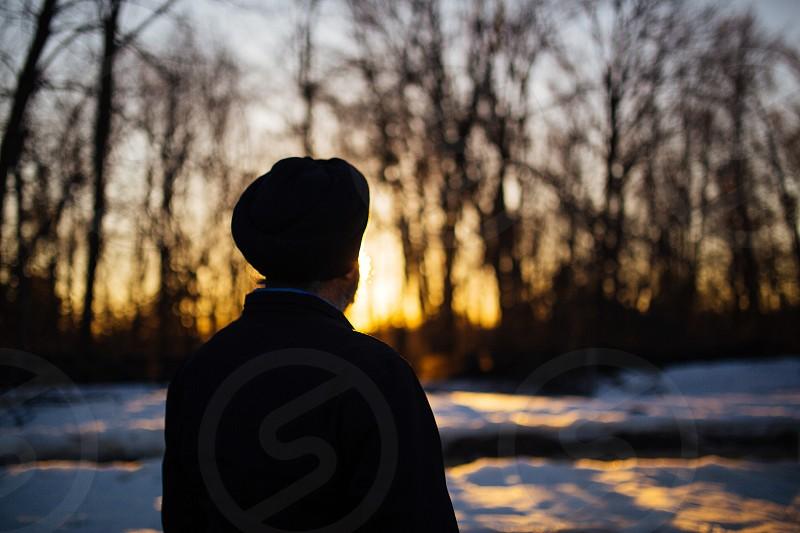 men's black coat photo