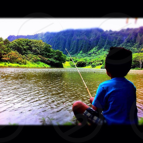 Fishing at a botanical garden in Oahu photo