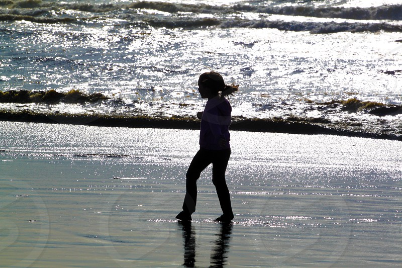 Girl Beach Shadow Silhouette photo
