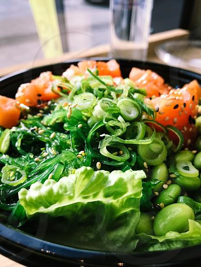 Salad seafood salmon raw food dish spring onion  green leaves sesame seeds Japanese  closeup plate wakame photo