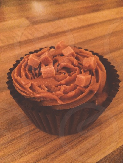 Muffin wood fudge salted caramel photo