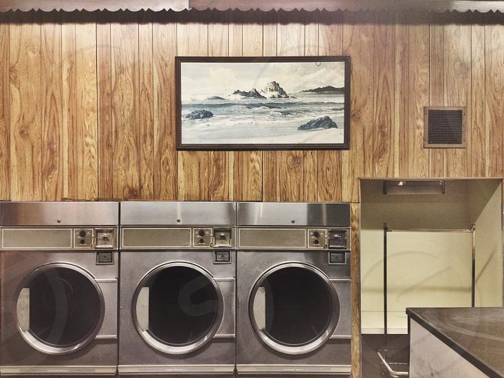 circle three wash rinse repeat dryer painting landscape laundry laundrymat laundromat vintage paneling wood faux scallop retro photo