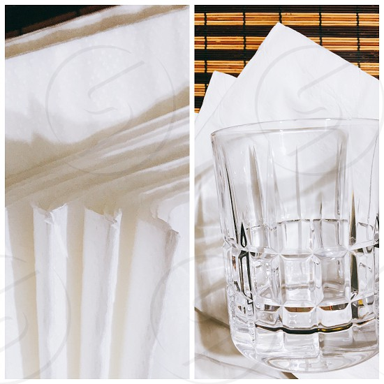 closeup photography of clear drinking glass in white tissue paper photo