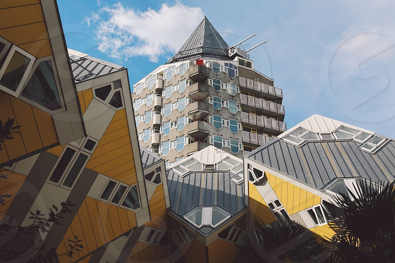 cube houses rotterdam city building architecture photo