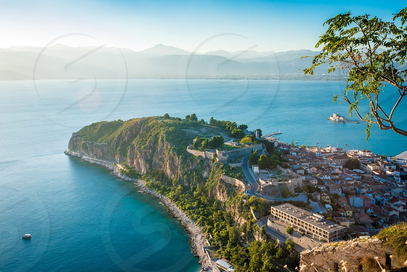 Nafplio the old capital of Greece seen from high above.   photo