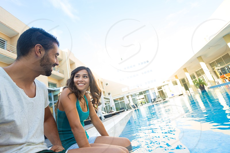 Couple love hotel pool water summer latin hispanic travel trip vacations photo