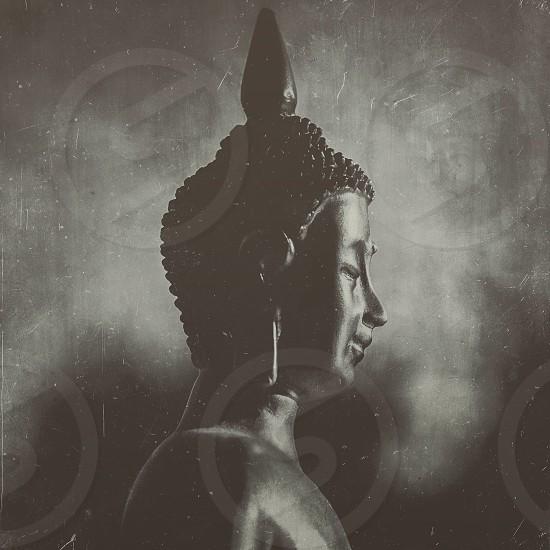 grayscale photography of Gautama Buddha photo