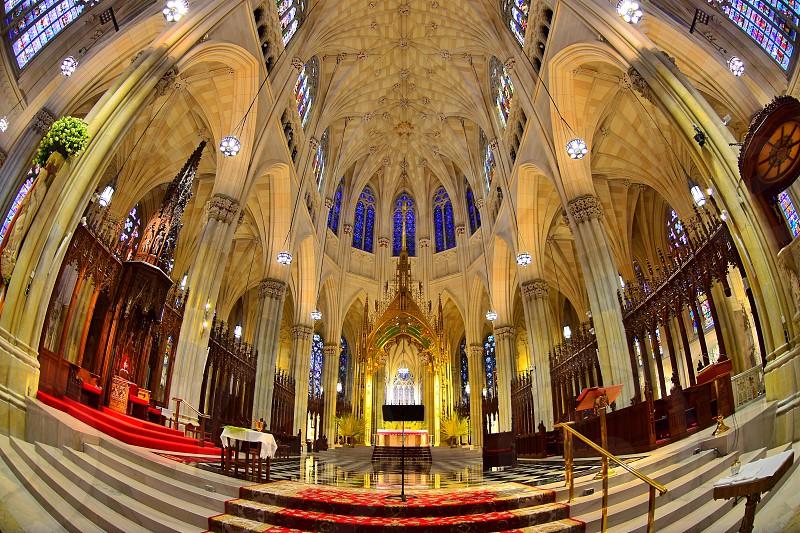 church interior in fish eye photo
