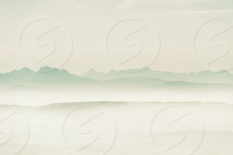 switzerland alps mountains hill fog spring photo