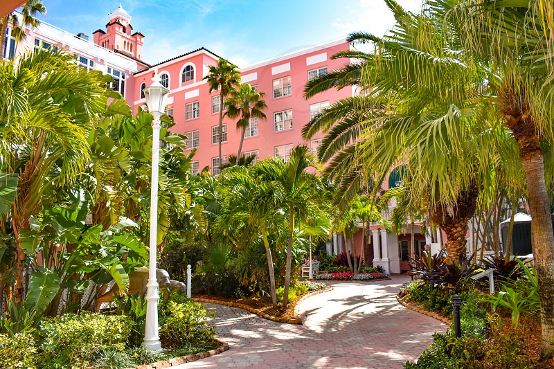 St. Pete Beach Florida. January 25 2019. Inside garden  palms trees and partial view of The Don Cesar Hotel. The Legendary Pink Palace of St. Pete Beach. photo