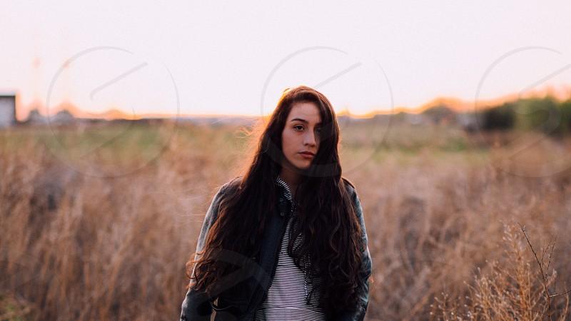 Girl girls outdoors portrait fashion lifestyle life hair leather jacket punk hipster looks feelings golden hour grassland emotion face chilling Texas amazing love eyes  photo