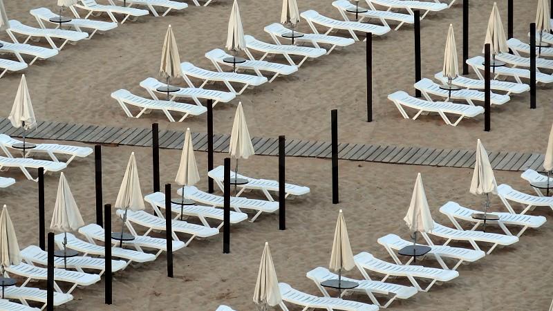 Beach Chairs Portimao Portugal. photo