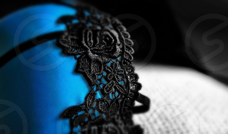 blue and black laced rose designed brassiere photo