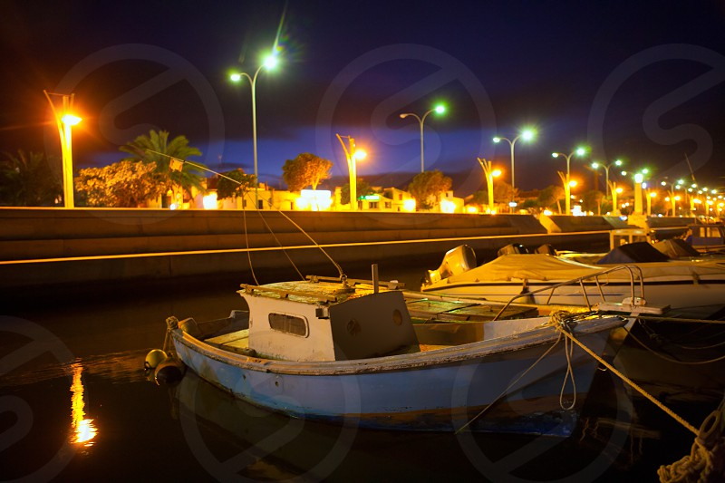 Night Denia marina in Alicante Mediterranean boats of Spain photo