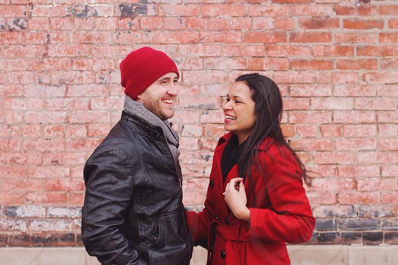 women's red jacket photo