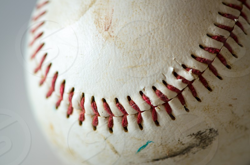 baseball macro objects ball vintage old close-up play sport background art artistic white red scuffed photo