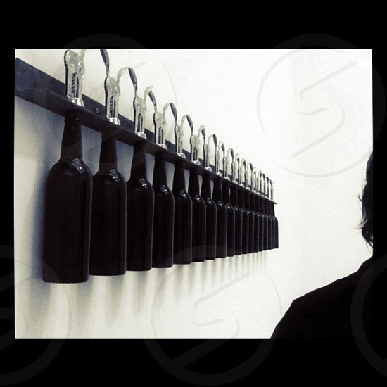 Madrid Art Exhibition Palacio Velazquez Bottles Perspective Black & White photo