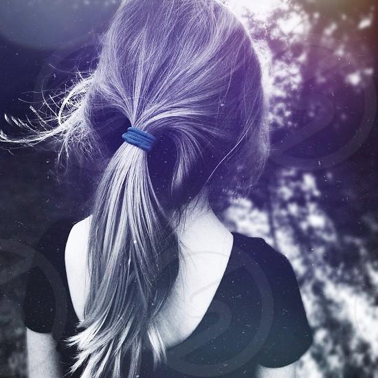 girl's black scoop neck t shirt photo