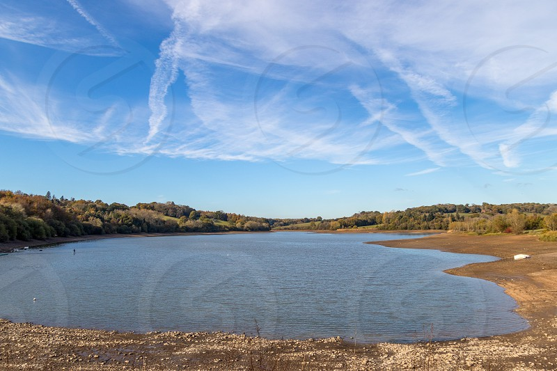 View of Ardingly reservoir in Sussex in autmn with low water reserves photo