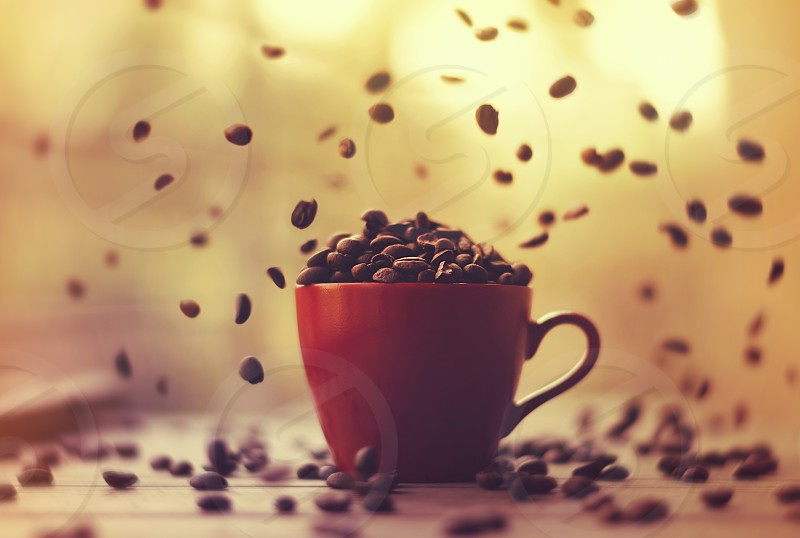 Still life shot of cup full of coffee beans and coffee beans falling  photo