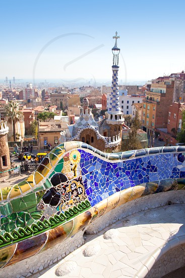Barcelona Park Guell of Gaudi tiles mosaic serpentine bench modernism photo