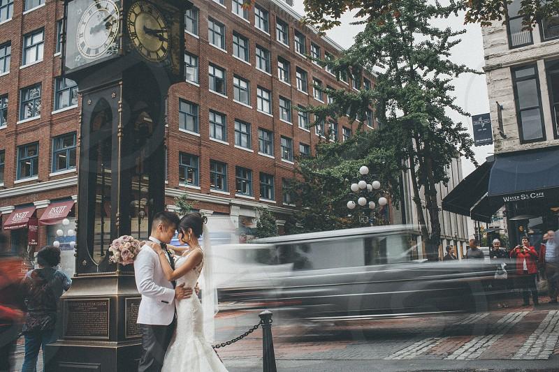 Long exposure wedding portrait in Vancouver's Gastown photo