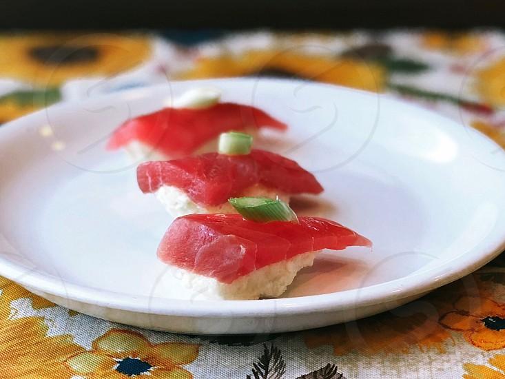 salmon nigiri photo